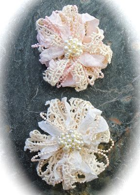 Pearl and Lace Flower Tutorial (no sewing!)