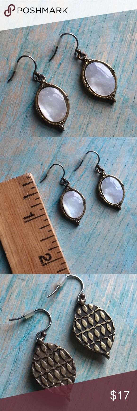 Lucky brand earrings antique gold and pearl Excellent preowned condition Lucky Brand Jewelry Earrings