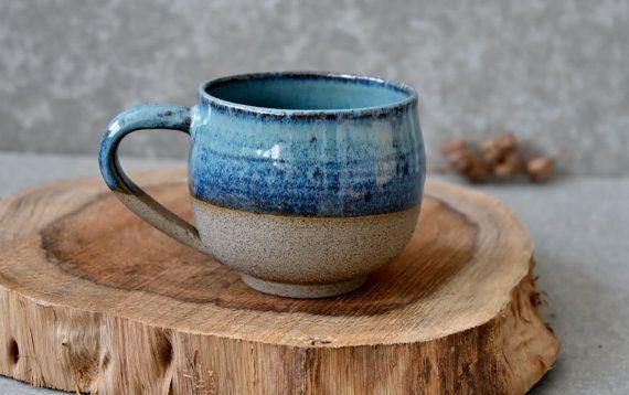 Große Keramik Kaffee Tasse, Keramik Tee Becher, Housewarminggeschenk, Trinkbecher, Türkis Keramiktasse, sofort lieferbar