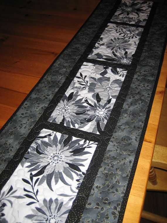 Quilted Table Runner Black and White with Gray by TahoeQuilts, $60.00