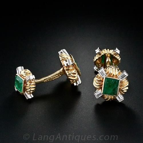 David Webb Emerald and Diamond Cufflinks