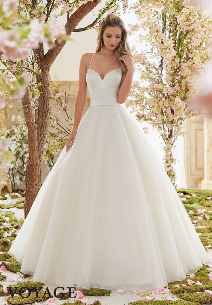 Nice Wedding Dresses By Voyage featuring Duchess Satin and Tulle Ball Gown Colors Available White