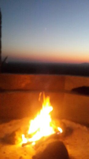 African fire and sunset