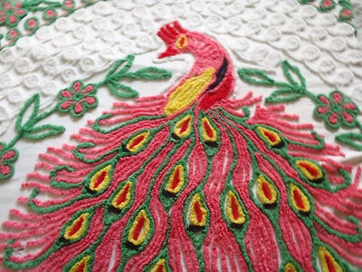amazing peacock pink green chenille bedspread vintage coverlet cotton white