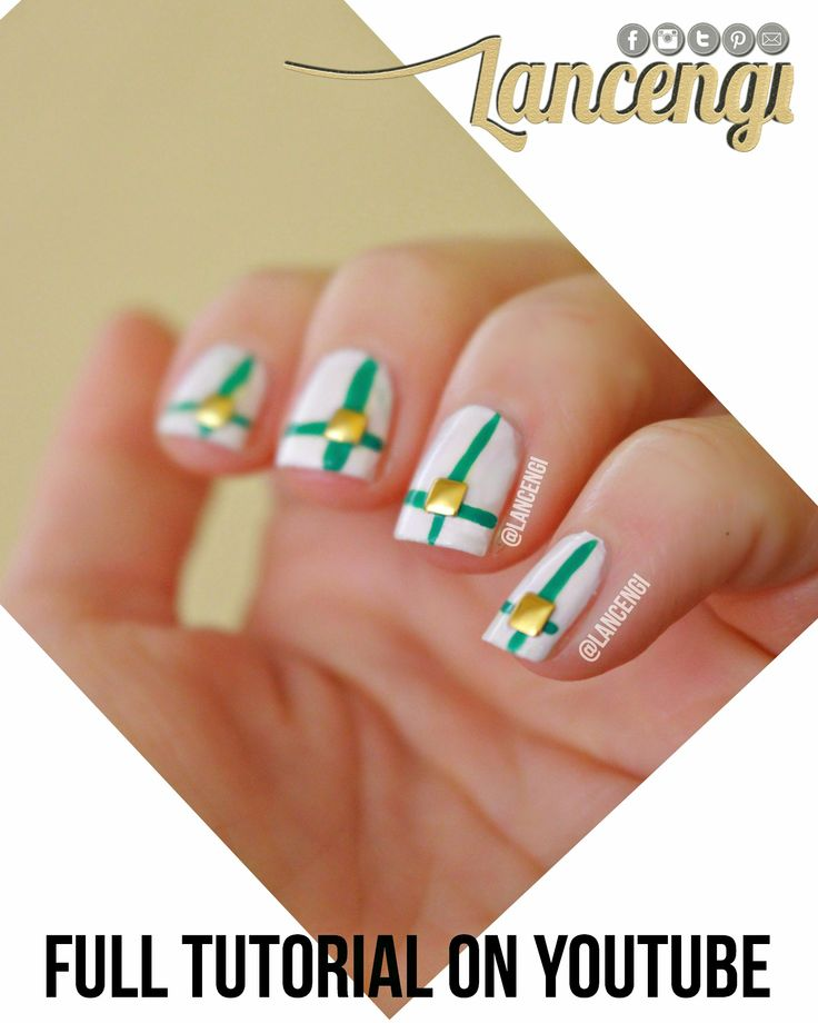 628 best nail inspired images on pinterest hand painted painted easy hand painted green gold by lancengi from nail art gallery prinsesfo Image collections