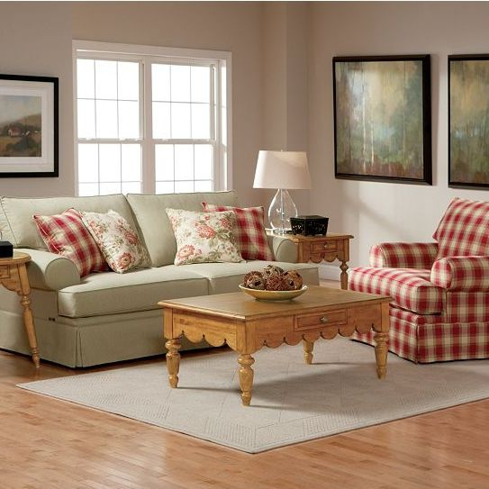 Plaid Furniture Country Living Room: Haley Living Room Collection