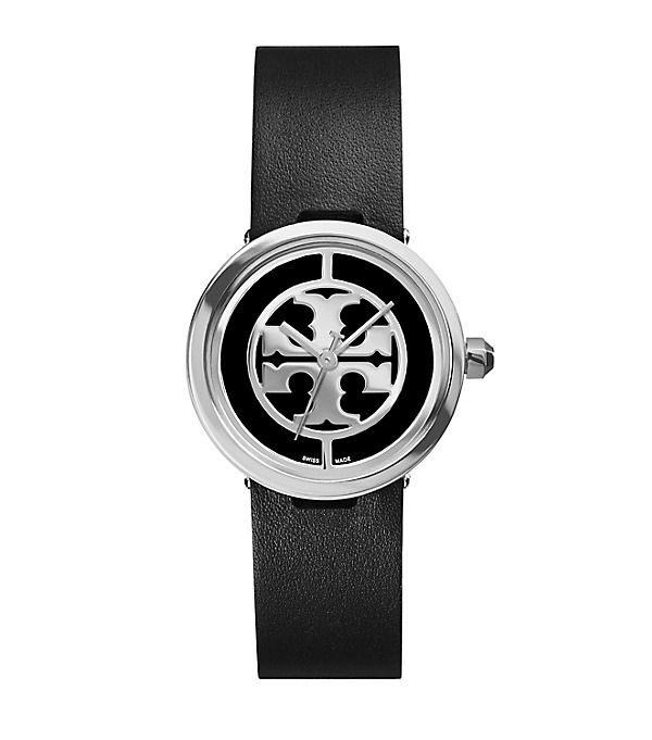 Tory Burch Reva Watch, Black Leather/stainless Steel, 28 Mm