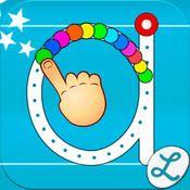En pärla för att att träna kopplingen fonem-grafem och att träna på att spåra former och bokstäver på ett lekfullt sätt.