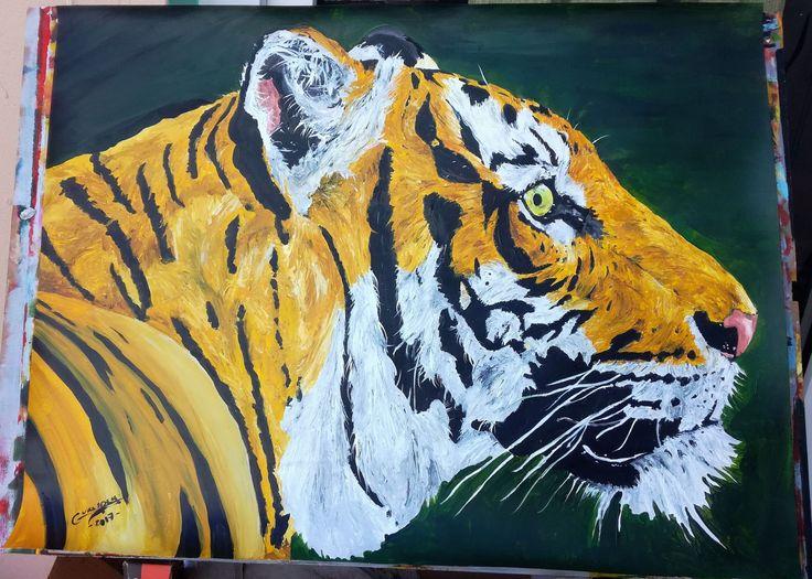 Dessin Peinture acrylique animalière animal sauvage, tigre format 50x65 cm de la boutique vanspeygalleryart sur Etsy