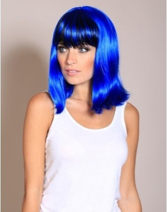 Wonderland Wigs - Ruth -Jessie J style blue and black wig. This stunning straight blue and black wig has a fashionable eye length fringe. A mid-length bob wig, Ruth, will sit perfectly on your shoulders, framing your face perfectly, giving you a very chic and modern look. With inspiration taken from Jessie J, this mid length blue and black wig has black slices in the fringe and a black underlayer. Other colour variations of this wig are available. #jessiej #colouredhair