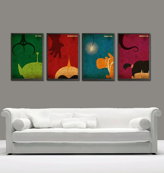 Minimalist Toy Story, The Incredibles, Finding Nemo and Monsters Inc Posters Set for 50 Dollars - A3 Poster