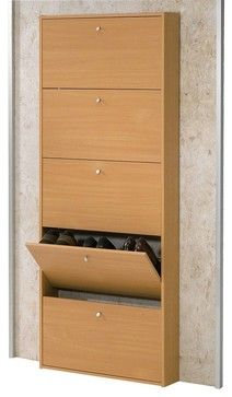 Shoes storage - love how narrow this is for our small space - behind the door