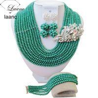 Lo nuevo de perlas africanas boda nigeriano beads africanos joyería conjunto 2017 teal verde collar de cristal para las mujeres ABF285