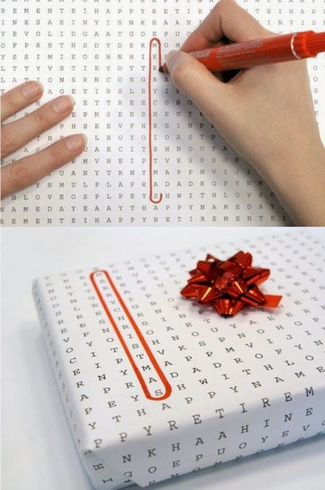 Caça palavras | Ideia de embalagem para presente de bodas de papel | Word puzzle wrapping paper #ideas