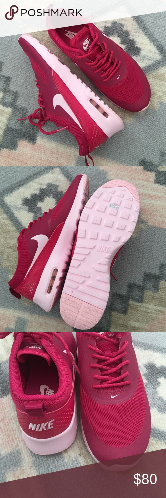 Shade of Pink Nike Air Max Brand new Nike Air Max Thea. Pink shoe with light pink sole- not white! Look at all the pictures and hopefully you can get a better idea of the colors. Never been worn, but they need to be...these are adorable!😍 Nike Shoes Sneakers