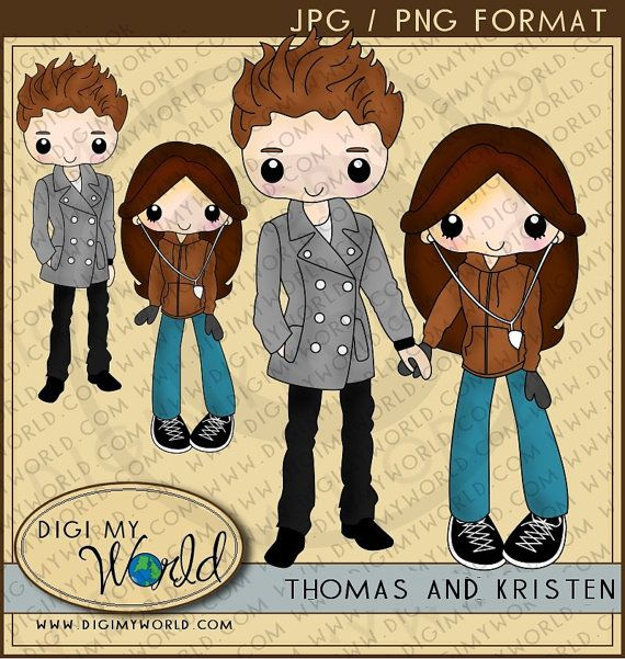 Gotta Love me some twilight!!    Tween teen couple teenagers clipart set  for cardmaking and scrapbooks. $3.50, via Etsy.