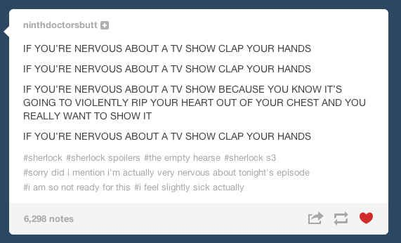 "People had a lot of feelings. | Tumblr Reacts To The ""Sherlock"" Season 3 Premiere"