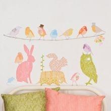 Αυτοκόλλητο τοίχου 'Ζωάκια και πουλάκια για κορίτσια'