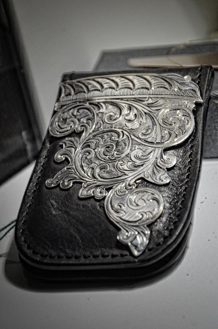 Clip porta banconote in pelle con applicazione in Argento inciso -personalizzabile con le incisioni- NAA-Studio, Firenze