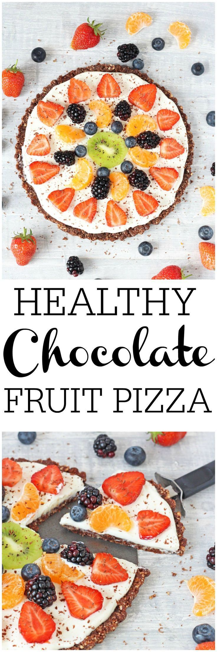 Looking for a delicious and healthy dessert that the whole family can enjoy? Try my gluten free, no bake Chocolate Fruit Pizza! | My Fussy Eater blog