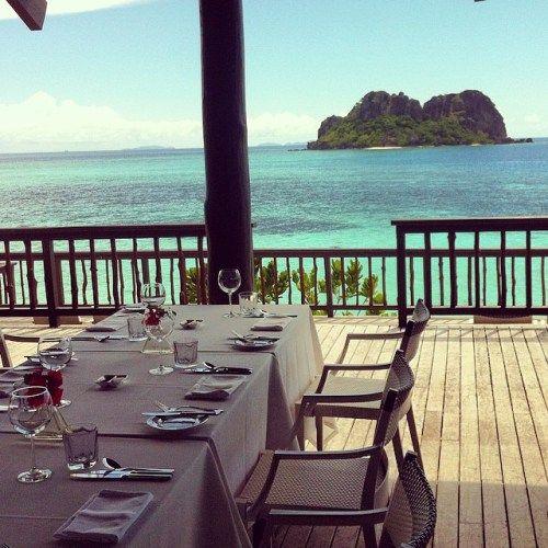 Dining at the rocks...bliss! Vomo Island Resort, Fiji  www.islandescapes.com.au