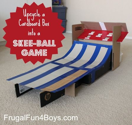 Turn a cardboard box into a homemade SKEE BALL game for marbles!