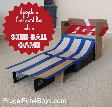 DIY Skee Ball Game from a cardboard box- TOO FUN! :)