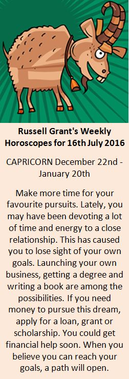 Astrology - Your Capricorn Weekly Horoscope for 16th July 2016