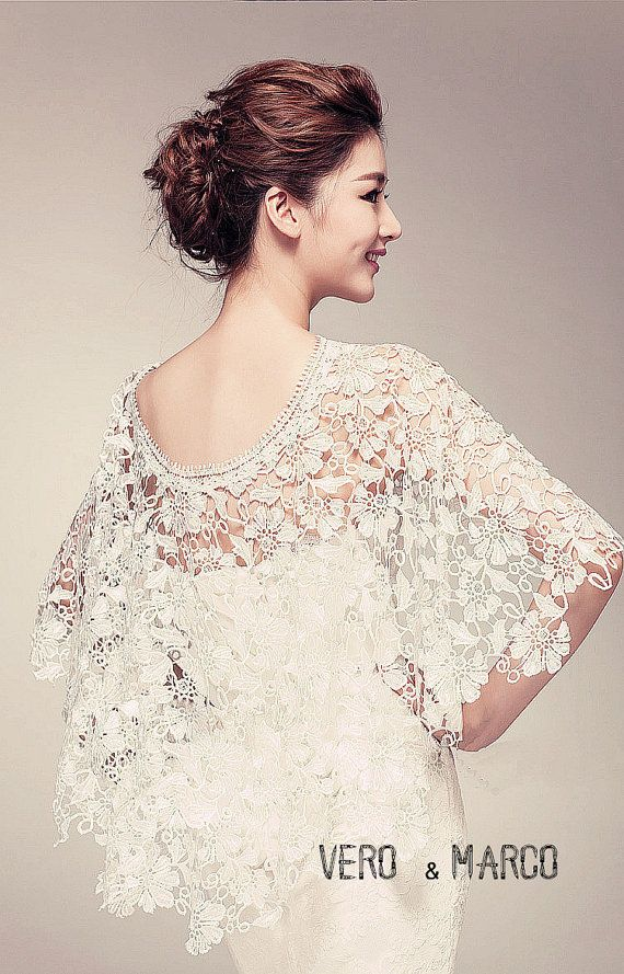 """Could use something like this to """"dress up"""" a cheaper dress...Romance Alencon lace bridal capelet lace cloak by ThingsInLove"""