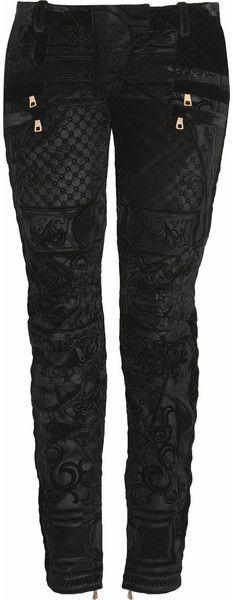 Balmain Black Velvet Brocade Motostyle Lowrise Skinny Jeans
