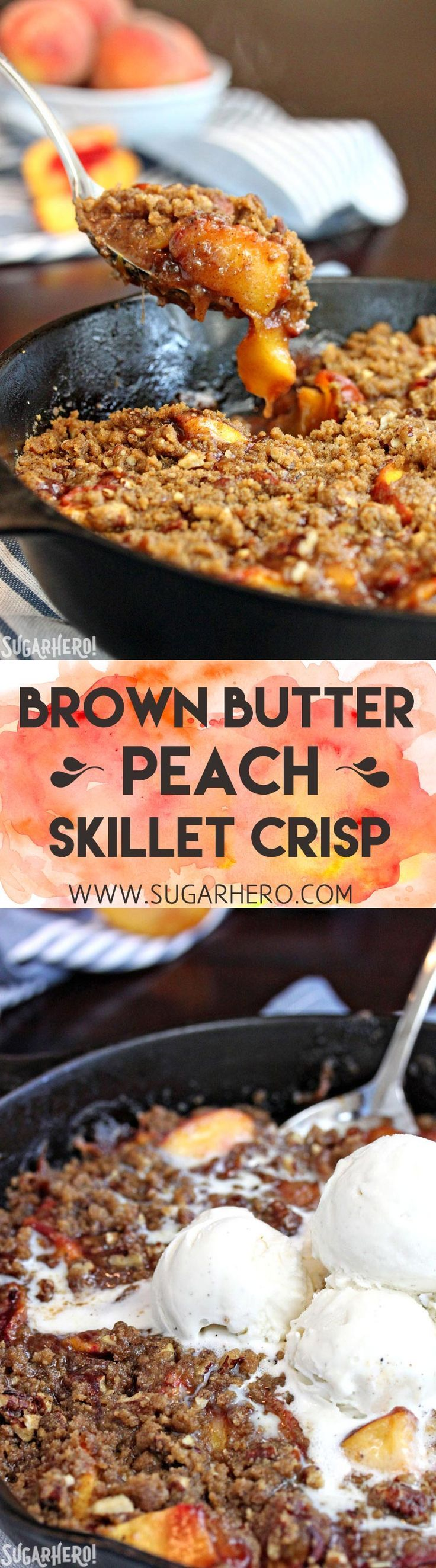 This Brown Butter Skillet Peach Crisp is packed with juicy peaches, and topped with a crunchy brown butter pecan crumble. It's the perfect comfort food! | From SugarHero.com