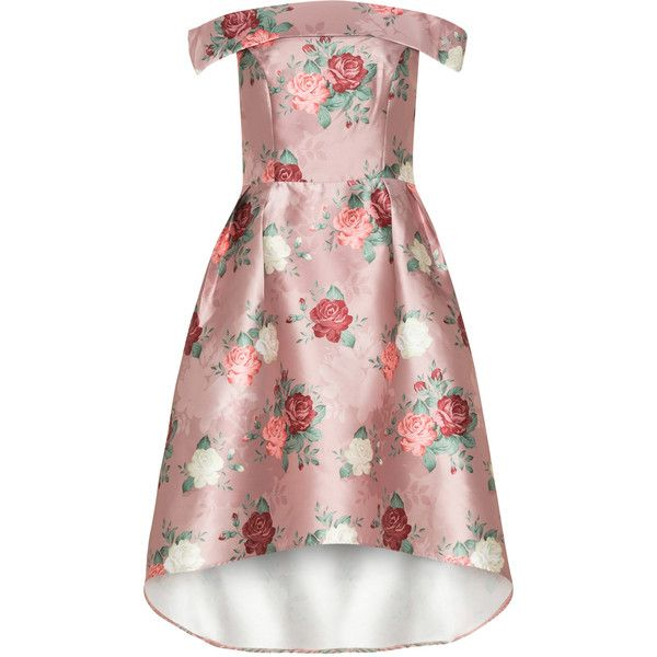 CHI CHI Curve Pink / Red Plus Size Floral print high-low hem dress (847.475 IDR) ❤ liked on Polyvore featuring dresses, pink, plus size, red dress, red high low dress, women's plus size dresses, plus size off the shoulder dress and floral dresses