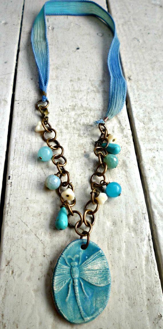 Teal aqua blue dragonfly necklace Vintaj by McKeeJewelryDesigns