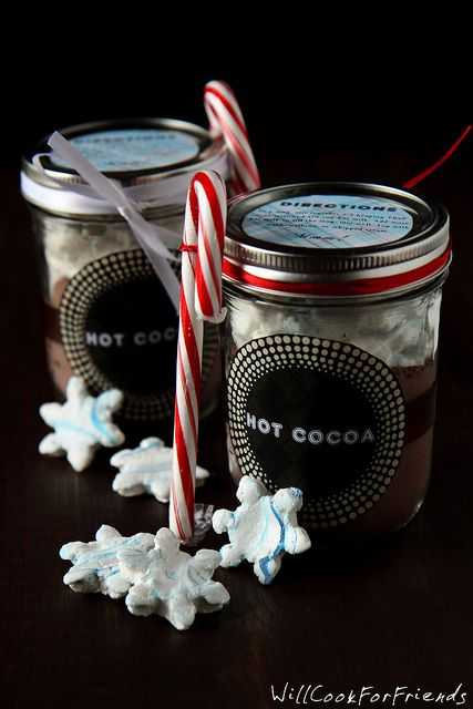 Love this cozy gift -- Homemade Hot Cocoa Mix with Peppermint Marshmallows - Made for Sharing