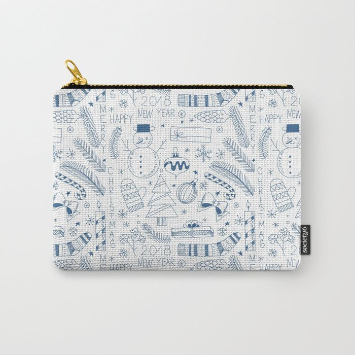 Buy Doodle Christmas pattern blue Carry-All Pouch by katerinakirilova. Worldwide shipping available at Society6.com. Just one of millions of high quality products available.