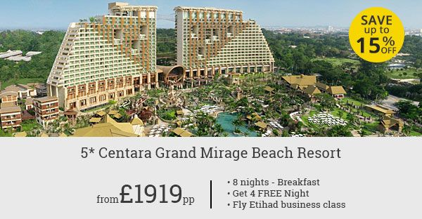 5 Star Pattaya beach holiday can't get more affordable! Offer is inclusive of business class flight with five star Etihad Airways.
