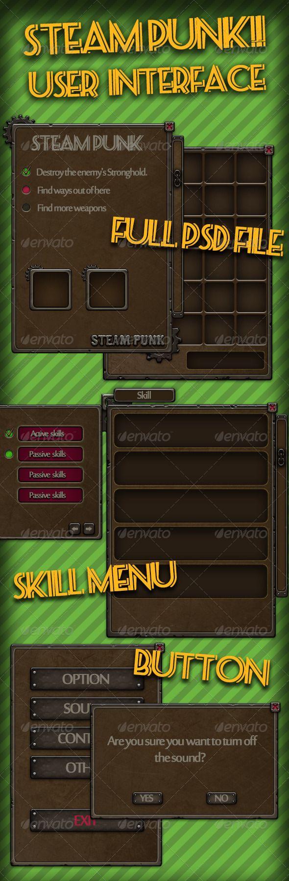 Steam Punk Game User Interface