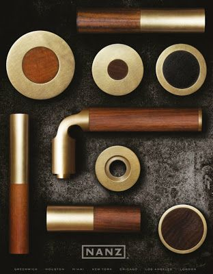Nanz - Studio Line - burnished and polished brass with mahogany, walnut, and African blackwood