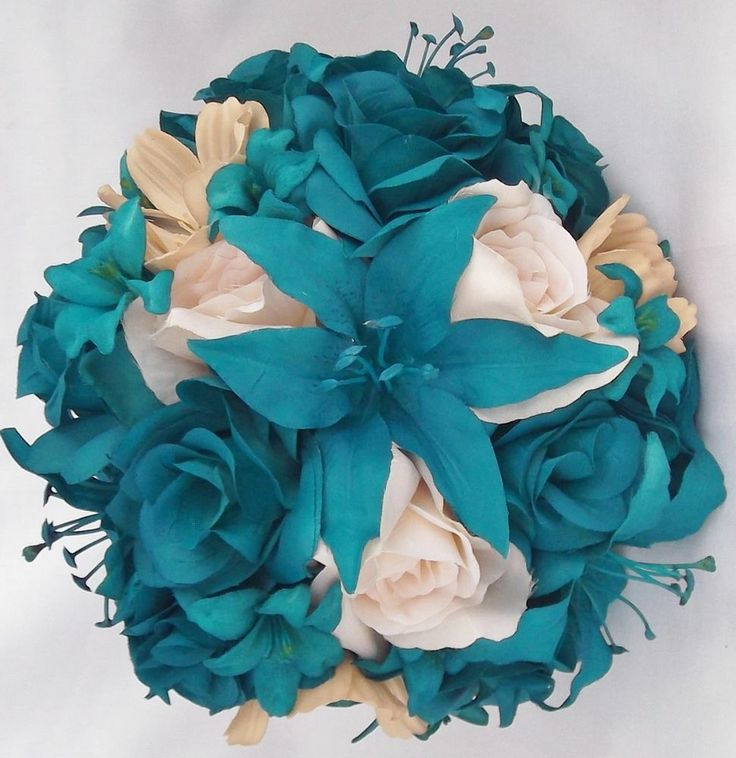 Teal Roses, Lillies & Cosmos Silk Wedding Bridal / Bridesmaids / Bouquet / Bouts #Blue