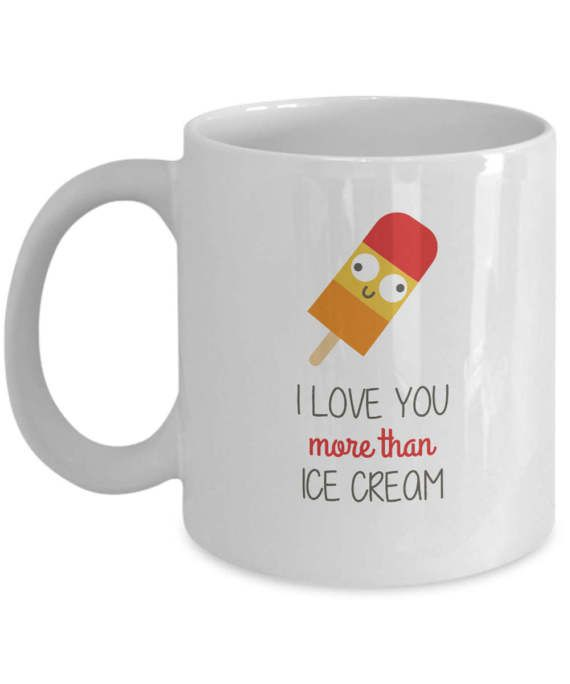 I Love You More than Ice Cream Funny Illustration by dungishop