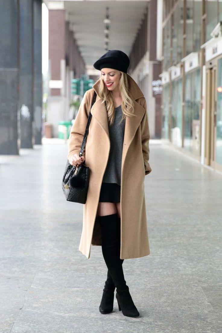 béret femme béret noir manteau long hiver mode sac à main en cuir