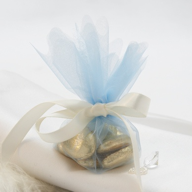 Wedding Favour Tulle Nets Pale Blue - 10 Pack
