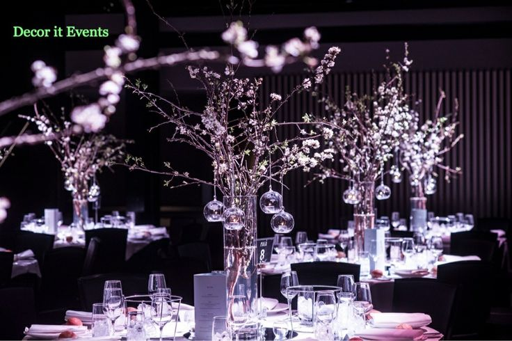 Decor It Events Spring Wedding Centerpiece of cherry blossom and glass hanging baubles. #centerpieces #atlantic weddings  #cherryblossom #wedding centerpiece  #tablescape  #centerpieces  www.decorit.com.au (49)