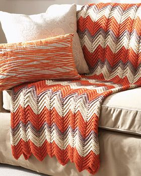 This pattern is great for adding some color to your living room or bedroom, and since it combines three different colored yarns, this crochet afghan pattern is perfect for bringing popular colors in your room together for an organized and stylish look to your decor.  Read more at http://www.favecrafts.com/Crochet-Afghans/Ripple-Afghan-Crochet-Pattern/ml/1#wqp7Ufl4tb7583tQ.99