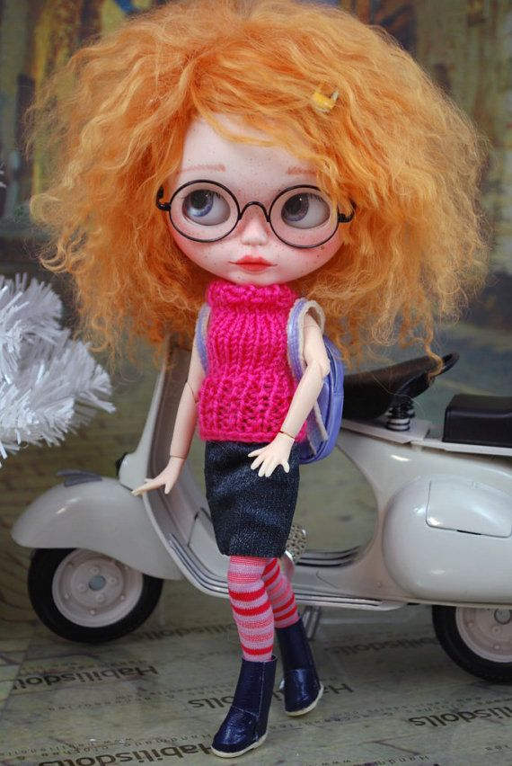 Ensemble for Blythe dolls cardigan knit top skirt by habilisdolls