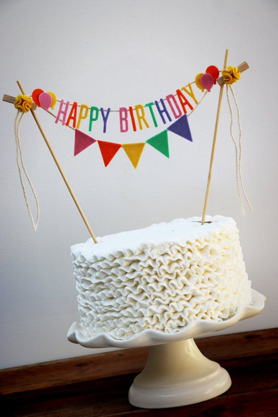 Add a little whimsy to your little ones birthday cake...Happy Birthday cake topper + a five flag banner in matching colors. Made from 100% wool
