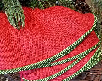Falda del gran árbol de Navidad | Falda tradicional árbol de Navidad | Acentos de Navidad | Árbol rojo falda | Falda del árbol de vacaciones | Adornos de Navidad