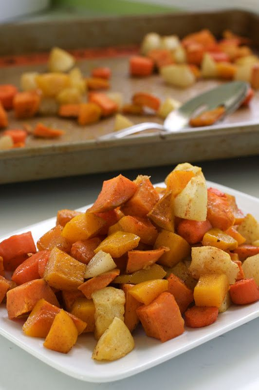 Roasted and Spiced Autumn Vegetables and Fruits