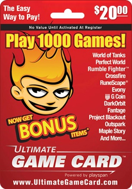 Ultimate Game Card $20.00 - Ultimate Game Card is one of the top-selling prepaid game cards redeemable with PlaySpan to access hundreds of the most popular online games. http://www.pcgamesupply.com/buy/ultimate-game-card-20/