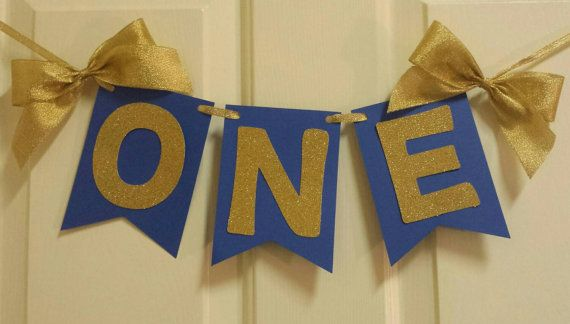 One 1st Birthday Highchair Age Banner Royal Prince theme blue and gold